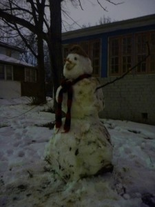 "We went for dinner out last night, in case it was a while before we could get out again. Kid the Younger's ""hey, I am getting ready to go"" task turned out to be building this snowman."