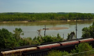 freight trains along the Missouri